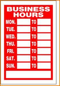 Business Sign Template 14 Business Hours Template Attendance Sheet Download