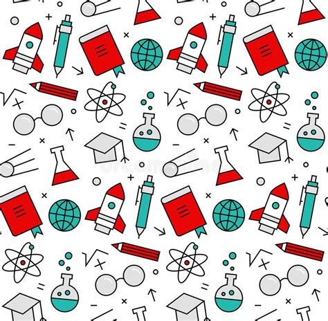 texture pattern learning science elements seamless icons pattern stock vector