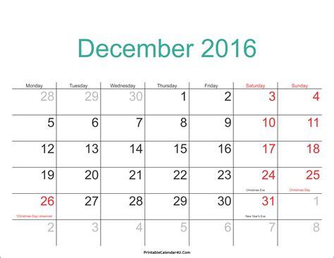 December 2016 Calendar With Holidays December 2016 Calendar Printable With Holidays Pdf And Jpg