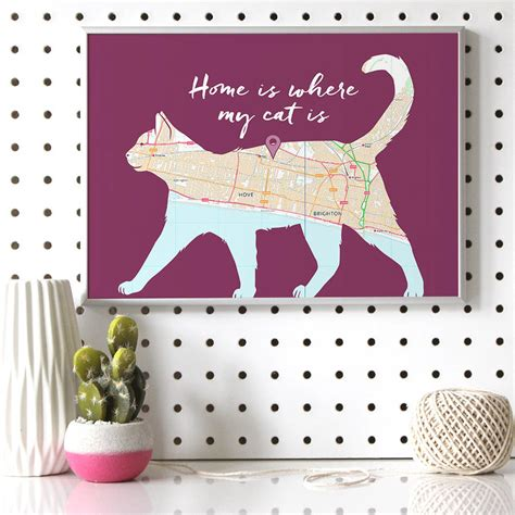 design works home is where the cat is home is where my cat is map print by well bred design