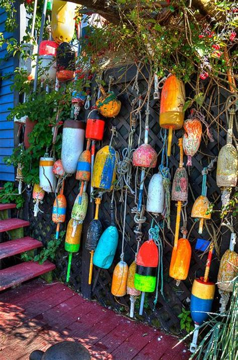 Outdoor Home Decor Ideas by Lobster Trap Floats Kennebunkport Maine I Loved