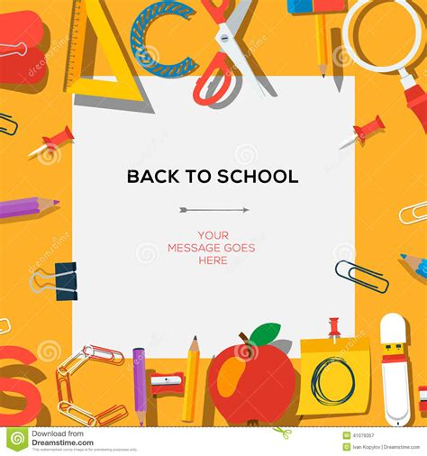 Back To School Template With Supplies Stock Vector Illustration Of Scissors Education 41079357 School Photo Templates Free