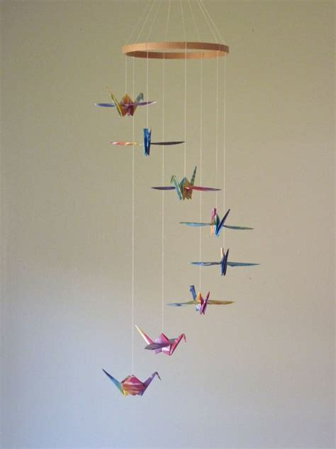 How To Make Paper Mobile - origami crane mobile baby mobile children decor eco