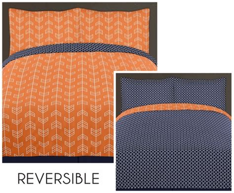 orange and navy bedding orange and navy arrow 4pc twin bedding set by sweet jojo designs only 119 99