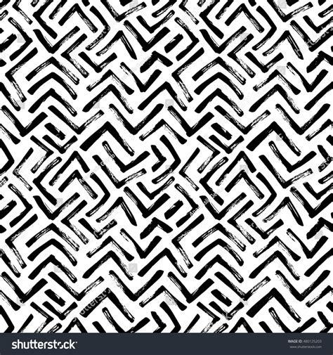brush with pattern seamless pattern hand drawn brush strokes stock vector