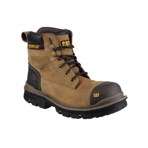 Cat Safety Brown cat gravel brown safety boots with steel toe cap