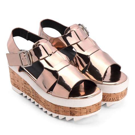 Sandal Platform Wedges Slop Gold gold metallic ankle high platform sandals us 61 95 yoins