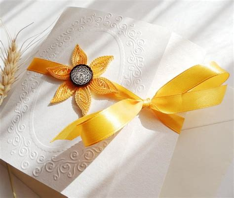 Wedding Invitations Yellow Paper by Sunflower Wedding Invitation Unique Invitation Handmade