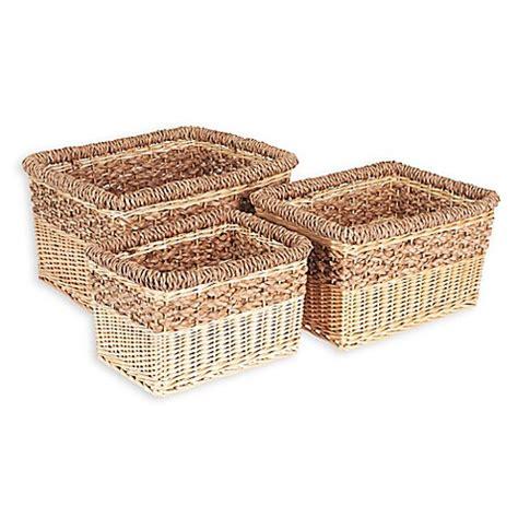 bed bath and beyond baskets household essentials 174 3 piece starling wicker storage