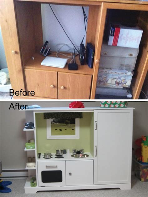 kids kitchen furniture old entertainment unit recycled into a kids play kitchen