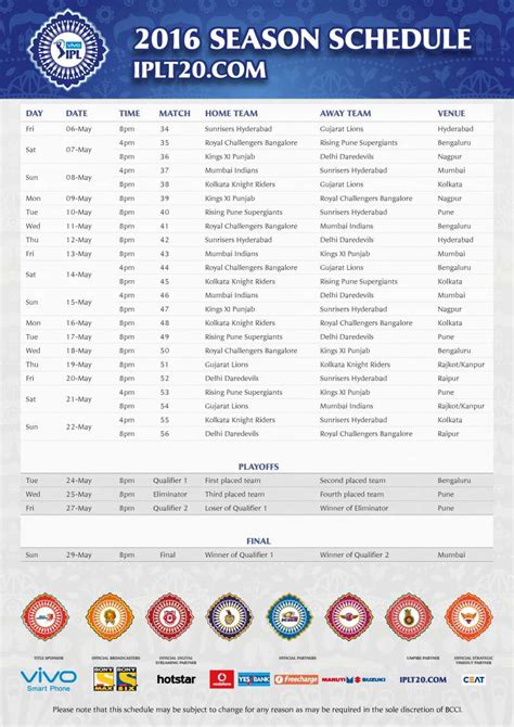 ipl time table and time players names download ipl 2016 schedule time table download pdf image of ipl