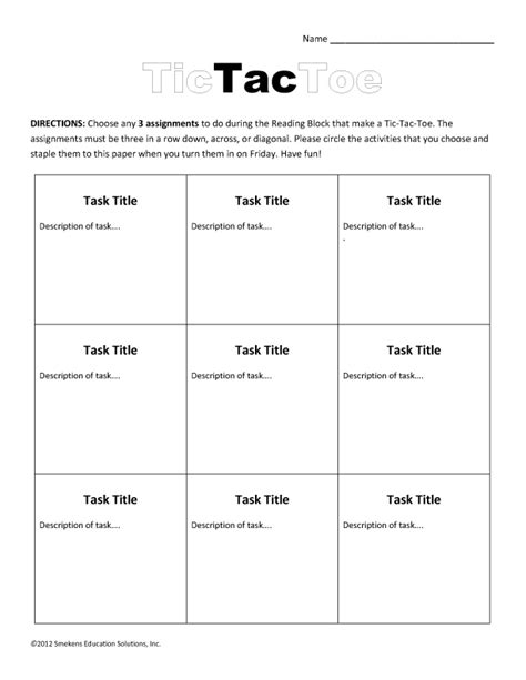 math tic tac toe template task sheets ensure efficient literacy station time gt gt 23