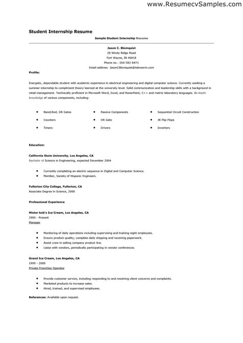 student resume exle for internship resume for college student still in school best