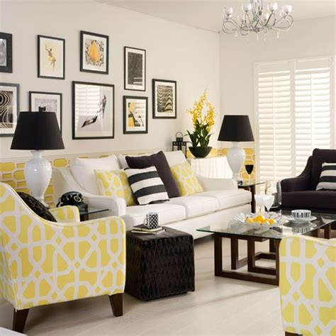 Yellow Black And White Living Room | yellow monochrome living room decorating with monochrome