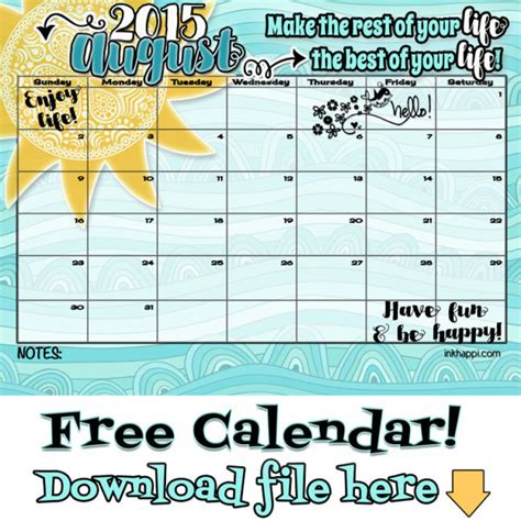 Calendar For August 2015 August 2015 Calendar Is Here Inkhappi