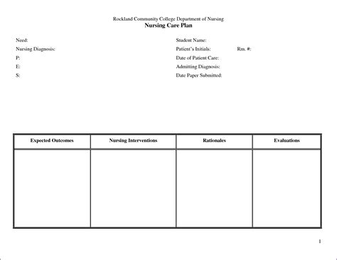 Free Printable Blank Nursing Care Plan