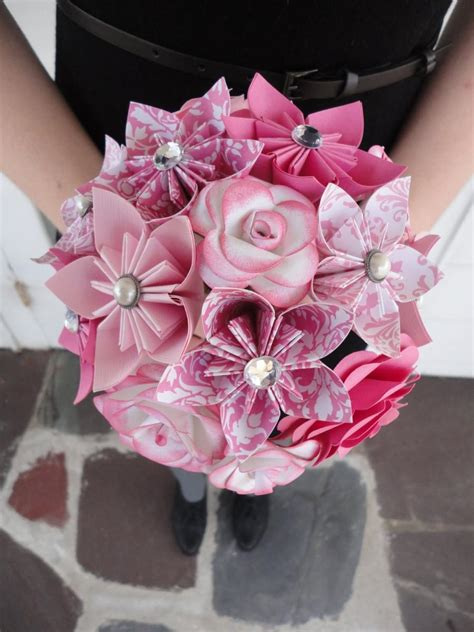 wedding flowers pink paper flower bridesmaid bouquet