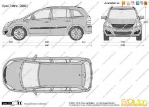 Opel Zafira Dimensions The Blueprints Vector Drawing Opel Zafira