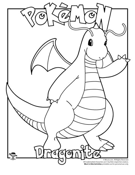 pokemon coloring pages dratini dragonite coloring page woo jr kids activities