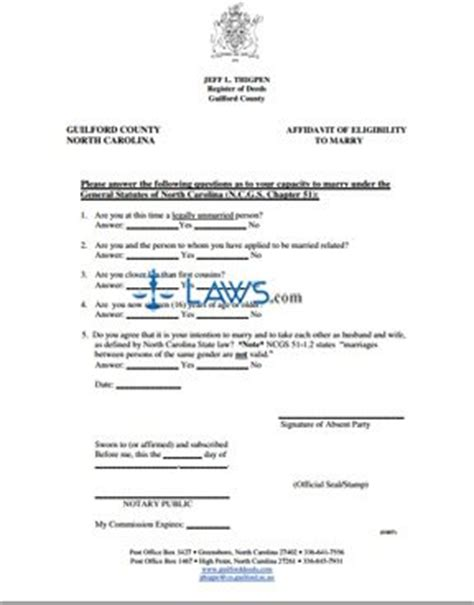 Clermont County Divorce Records Form Affidavit Of Eligibility To Carolina Forms Laws