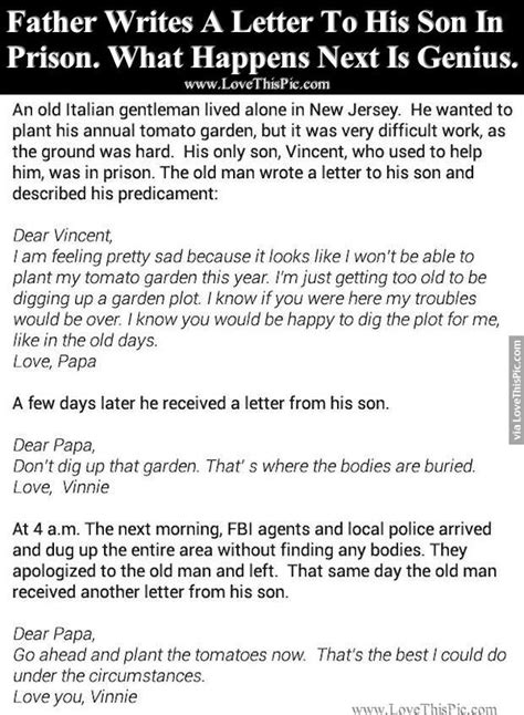 up letter joke writes a letter to his in prison what happens