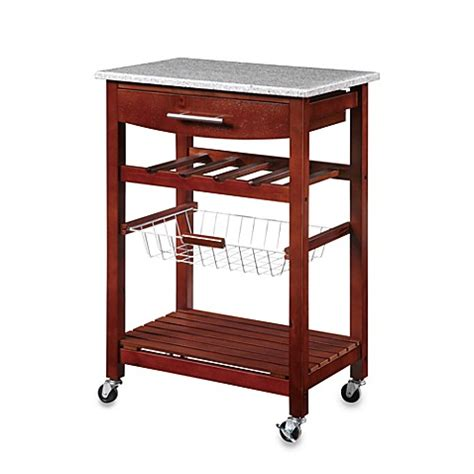 rolling kitchen cart granite rolling kitchen cart in cherry bed bath beyond