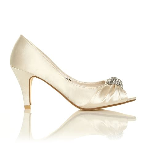 ivory white satin low heel bridal prom