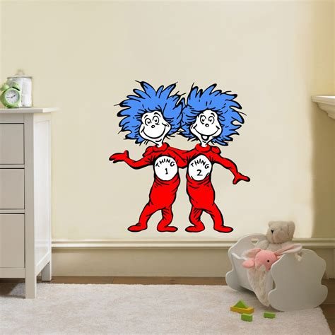 dr suess wall stickers dr seuss thing 1 thing 2 decal removable wall by printadream