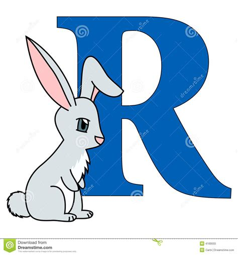 R Rabbit alphabet letter r stock vector image of learn language