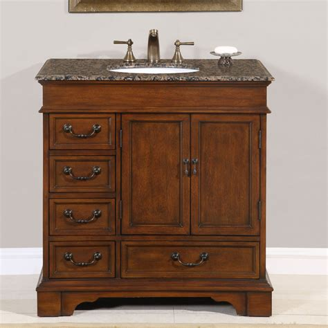 36? Perfecta PA 135 Bathroom Vanity Single Sink Cabinet (English Chestnut Finish Granite
