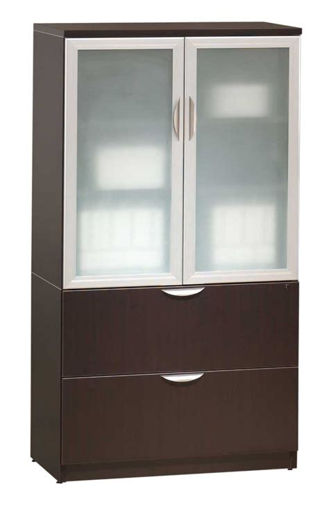 Storage Cabinet With Glass Doors Classic Glass Door Storage Cabinet Lateral File Combo
