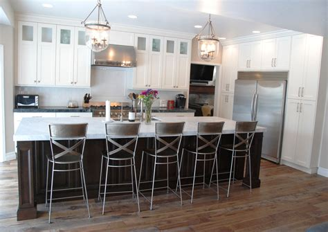 Cost To Replace Kitchen Cabinet Doors A Transitional White Kitchen With A Dark Cherry Wood