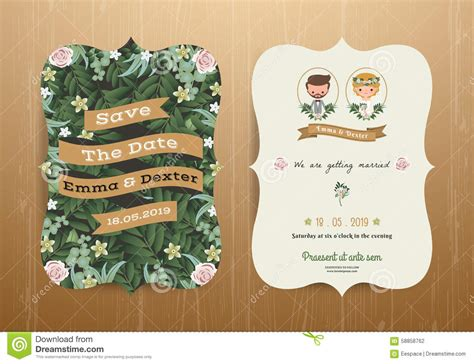 Wedding Invitation Card Rustic Cartoon Bride And Groom