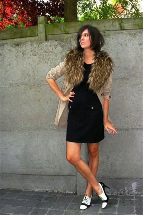 brown scarves white shoes black dresses beige coats