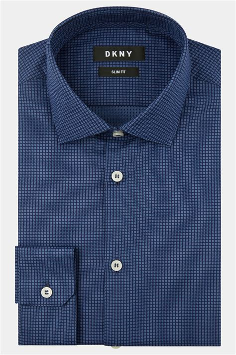 Textured Shirt dkny slim fit blue single cuff textured shirt