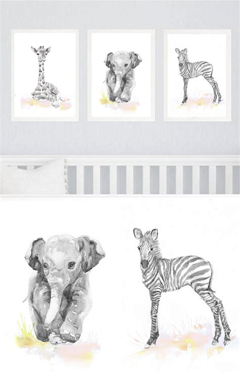 Animal Wall Decor For Nursery Neutral Nursery Decor Set Of 3 Prints Baby Animals Nursery