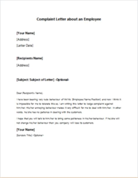 Complaint Letter Template Rude Staff Exle Of A Complaint Letter About An Employee Cover Letter Templates