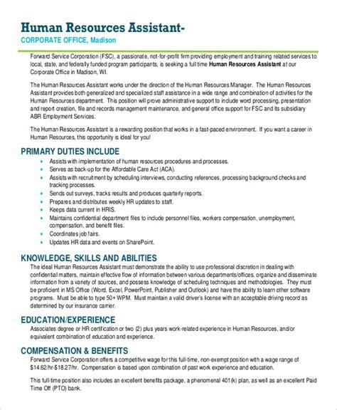 hr assistant job description 10 free word pdf