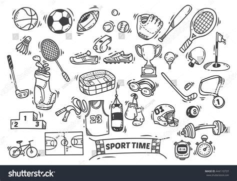 doodle sport sport themed doodle stock vector 444110737
