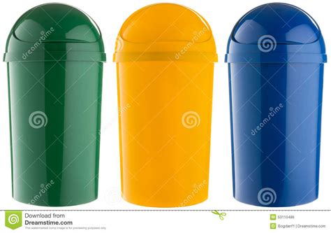 colored trash cans selective trash can made of colored plastic stock photo