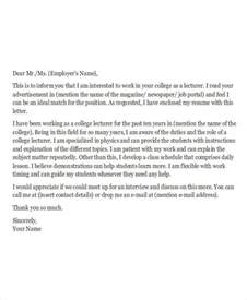 Application Letter College Instructor 8 Application Letters For Free Sle Exle Format Free Premium