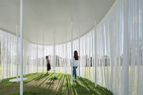 pavilion curtains obba blurs boundaries with their floating oasis pavilion