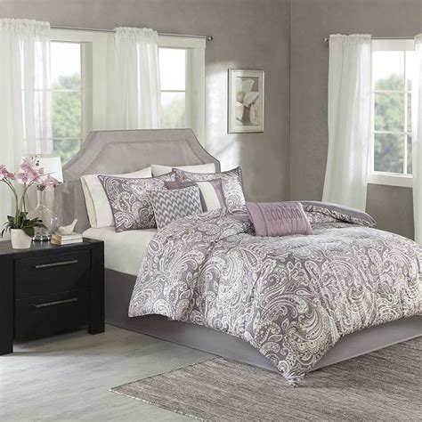 luxury 7pc purple grey paisley print comforter set and