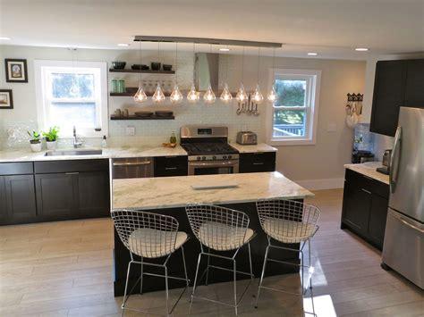 shelves in kitchen instead of cabinets kitchen with black cabinets white subway tile backsplash
