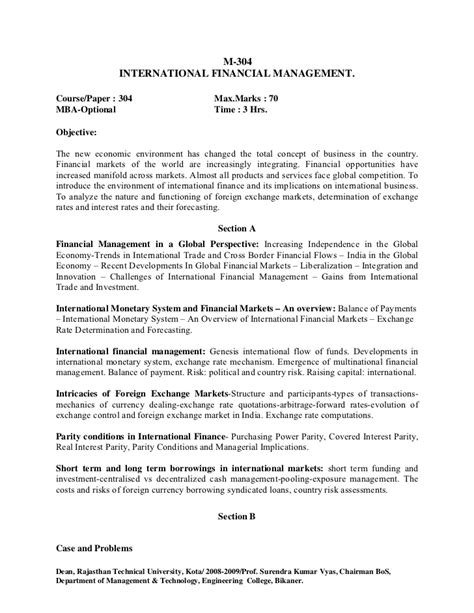 Mba In Environment Management Syllabus For Semester by Mba Syllabus Subject To Approval Of Academic Council