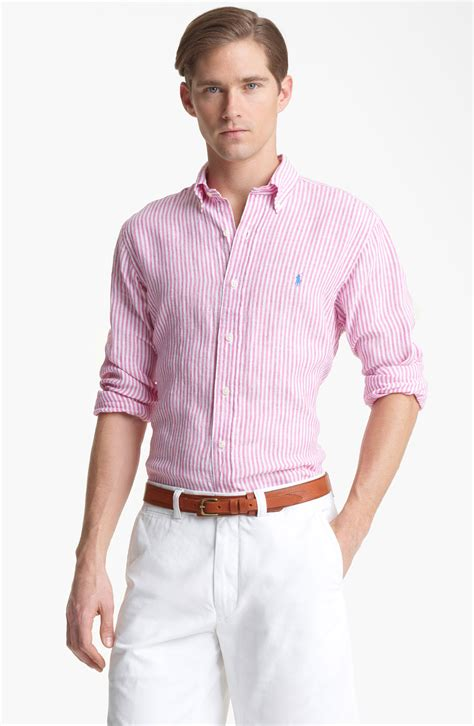 Jaket Parasut Sport Polos Pink polo ralph custom fit linen sport shirt in pink for lyst