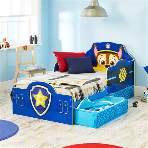 paw patrol bed official paw patrol chase toddler bed with storage mdf new 509pwp ebay