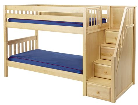 w bed maxtrix low bunk bed w staircase on end