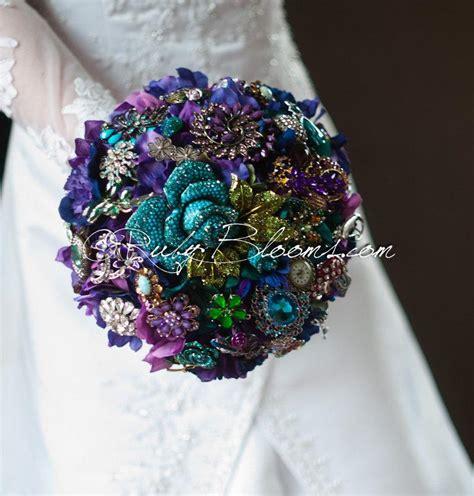 purple green blue peacock wedding broach bouquet by peacock wedding brooch bouquet quot alice in wonderland
