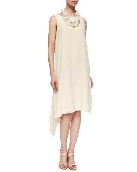 Asymmetric Silk Dress eileen fisher sleeveless silk asymmetric dress alabaster